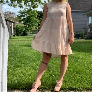 Pink and white lace baby doll dress